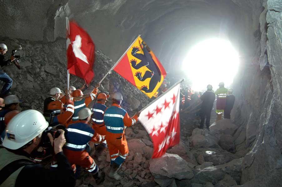 Tunneleröffnung Lötschbergtunnel
