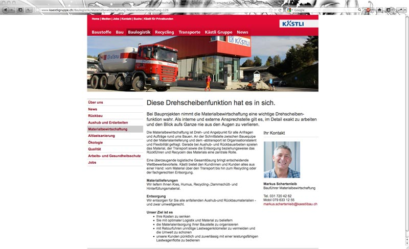 Website Kästli Gruppe